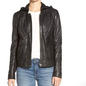 HINGE leather jacket with hoodie Size XS